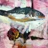 Betteke Akkerman: Flowerbaars (2016) olieverf op doek, 40 x 40 cm.