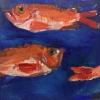 Betteke Akkerman: Roodbaarsstaart (2016) olieverf op doek, 50 x 50 cm.