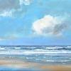 Noordzeestrand Texel, acryl op paneel, 23 x 50 cm