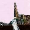 Wester Wind (uit de serie Amsterdam) print van I-pad tekening op aluminium gewalst (oplage 25) 20 x 20 cm