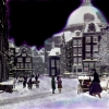 Children in the snow  (uit de serie Amsterdam) print van I-pad tekening op aluminium gewalst (oplage 25) 20 x 20 cm