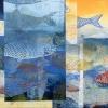 Zee-aquarium 2 (2016) monoprint op papier op doek, 40 x 80 cm.