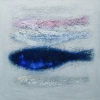 Ad Groot: Blauwe vis I, olieverf op doek, 50 x 50 cm.