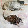 Betteke Akkerman: Twee ganzen 2015 olieverf op doek 100 x 100 cm.