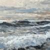 De Noordzee (2021) olieverf op paneel, 23 x 52 cm