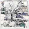 Ellen Geerts: Karsveld, inkt op papier, 10 x 10 cm (lijst 18 x 18 cm). 145 euro