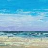 VERKOCHT Zee met strand (2019) olieverf op doek, 30 x 220 cm