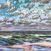 Noordzee (16 VIII 2019 E) pastel, 24 x 30 cm - lijstmaat 30 x 40 cm