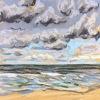 Noordzee (03 VIII 2019 C) pastel, lijst 20 x 20 cm