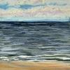Noordzee (01 VI 2020 D) pastel, lijst 20 x 20 cm