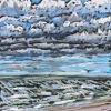 Noordzee (29 VII 2020 D) pastel, lijst 20 x 20 cm