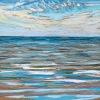 Noordzee (01 VIII 2020 D) pastel, lijst 20 x 20 cm