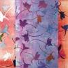 Riddersporentuin (2018) monoprint op doek, 20 x 20 cm