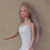 Barbie pop nr. 2, olieverf op paneel, 28 x 13 cm