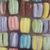 Macarons olieverf op paneel, 12,5 x 12,5 cm