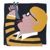 Mr Hockney II (2021) kartondruk (oplage 8) 15 x 15 cm